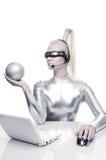 Beautiful cyber woman Royalty Free Stock Image