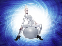 Beautiful cyber woman Stock Photo