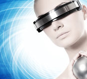 Beautiful cyber woman Stock Photography
