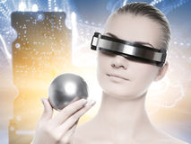 Beautiful cyber woman Stock Photos