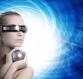 Beautiful cyber woman Stock Image
