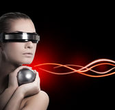 Beautiful cyber woman. Isolated over abstract background royalty free stock photography