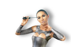 Beautiful cyber woman with tools Royalty Free Stock Photos