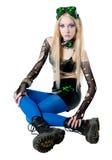 Beautiful cybergoth blonde girl Stock Photo
