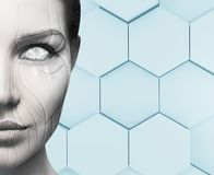 Beautiful cyborg female face. Technology concept. Royalty Free Stock Photography