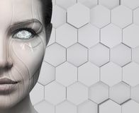 Beautiful cyborg female face. Technology concept. Stock Images