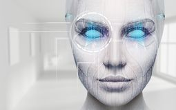 Free Beautiful Cyborg Female Face With Blue Eyes. Royalty Free Stock Photo - 158037165