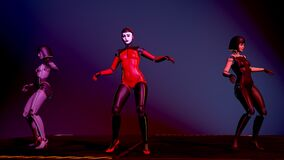Beautiful cyborg girls dancing on the catwalk in neon light. Artificial Female Android dance. Artificial intelligence, fashion and