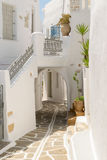 Beautiful cyclades architecture of an alley at a local village Prodromos in Paros island in Greece. Stock Image