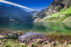 Beautiful Czarny Staw Gasienicowy at dawn in Polish Mountains. Europe Stock Photography