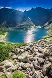Beautiful Czarny Staw Gasienicowy at dawn in summer, Tatras. Europe Stock Images