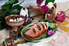Beautiful Czech nat on loaf in a still life Stock Image