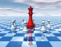 Beautiful 3d abstraction with blue chessboard and chess queen. Beautiful 3d abstraction with blue chessboard and big red chess queen surrounded by white chess Royalty Free Stock Images