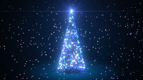 Beautiful 3d Animation of Christmas Tree Creating with Particles in Blue Colors. Defocused Blur Bokeh 3d Animation. Merry Christmas and Happy New Year Concept stock footage