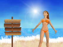 Girl on beach and signboard Royalty Free Stock Images