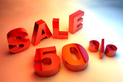 Beautiful 3d render  text SALE 50% Stock Images