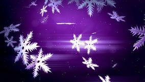 Beautiful 3d snowflakes float in air in slow motion at night on a purple background. Use as animated Christmas, New Year