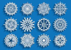 Beautiful  3d snowflakes set. For christmas winter design. Vector illustration Royalty Free Stock Photos