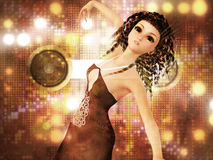 Young woman dancing. Beautiful 3d woman dancing on abstract shining background Royalty Free Stock Image