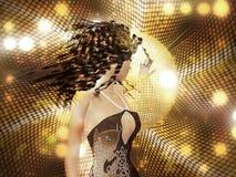 Young woman dancing. Beautiful 3d woman dancing on abstract shining background Stock Photo