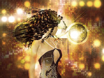 Young woman dancing. Beautiful 3d woman dancing on abstract shining background stock illustration