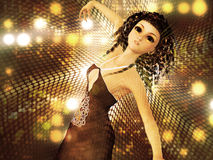 Young woman dancing. Beautiful 3d woman dancing on abstract shining background Royalty Free Stock Photography