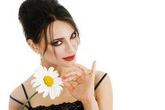 beautiful daisy flower woman Arkivbilder