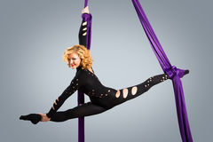 Beautiful dancer on aerial silk, aerial contortion, aerial ribbons, aerial silks, aerial tissues, fabric, ribbon. Tissue Royalty Free Stock Image