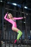 Beautiful dancer destruction hangar Royalty Free Stock Photo