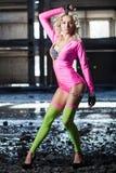 Beautiful dancer destruction hangar Stock Images