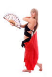 Beautiful dancer with a fan Royalty Free Stock Image