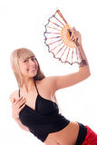 Beautiful dancer with a fan Royalty Free Stock Images