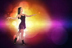 Beautiful dancer. Glow multicolor circles Royalty Free Stock Image