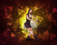 Beautiful dancer. Glow multicolor triangles Royalty Free Stock Photo