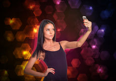 Beautiful dancer makes selfie from your mobile Royalty Free Stock Image