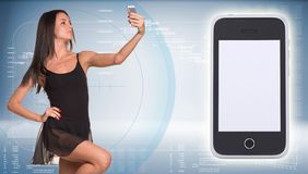 Beautiful dancer makes selfie from your mobile Stock Photos