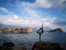 The dancer of budva, montengro stock images