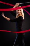 Beautiful dancer with ribbon smiling Stock Image