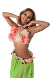 Beautiful dancer in tropical costume. Stock Image