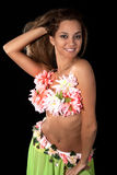 Beautiful dancer in tropical costume. Royalty Free Stock Photography
