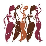 Beautiful dancers silhouette royalty free illustration