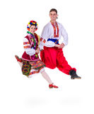 Beautiful dancing couple in ukrainian polish Stock Image