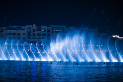 Beautiful dancing fountain illuminated at night Royalty Free Stock Photos