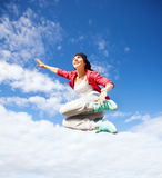 Beautiful dancing girl jumping Stock Photo