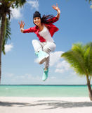 Beautiful dancing girl jumping Royalty Free Stock Photos