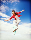 Beautiful dancing girl jumping Royalty Free Stock Image