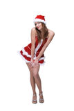 Beautiful dancing girl in santa clause dress Royalty Free Stock Image