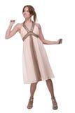 Beautiful dancing girl weared light dress Stock Photo
