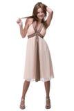 Beautiful dancing girl weared light dress Royalty Free Stock Image