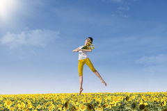 Beautiful dancing with sunflowers Stock Images